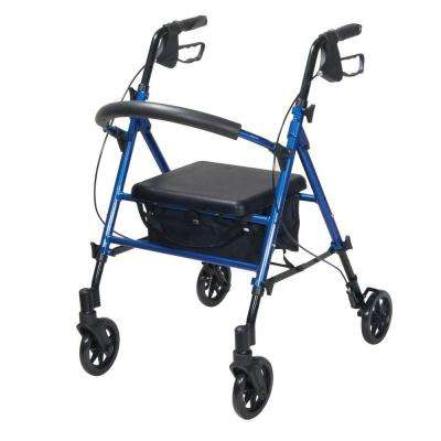 4-Wheel Adjustable Height Rollator with 6 in. Wheels in Blue
