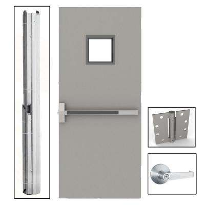 36 in. x 80 in. Gray Flush Exit with 10x10 VL Right-Hand Fireproof Steel Commercial Door with Knockdown Frame