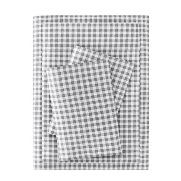 Brushed Soft Microfiber 4-Piece Queen Sheet Set in Gray Gingham