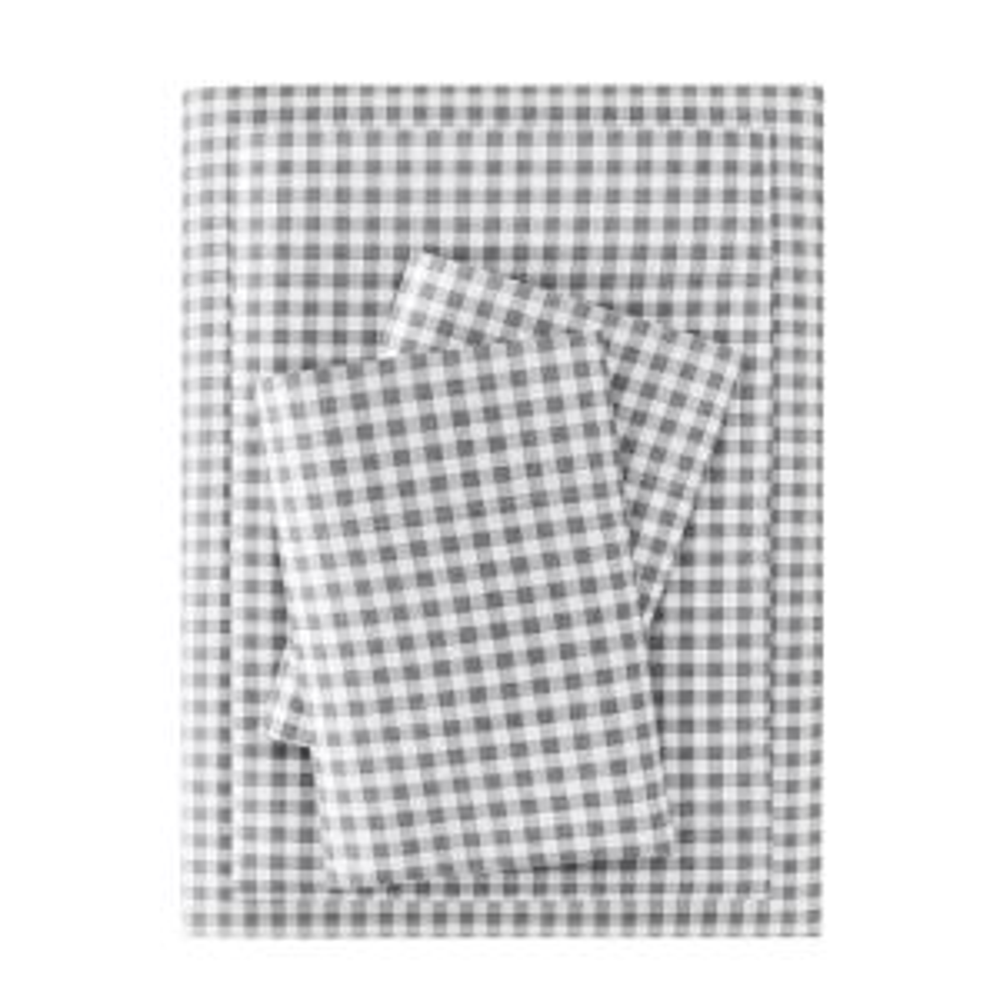Brushed Microfiber 4-Piece Queen Sheet Set in Gray Gingham