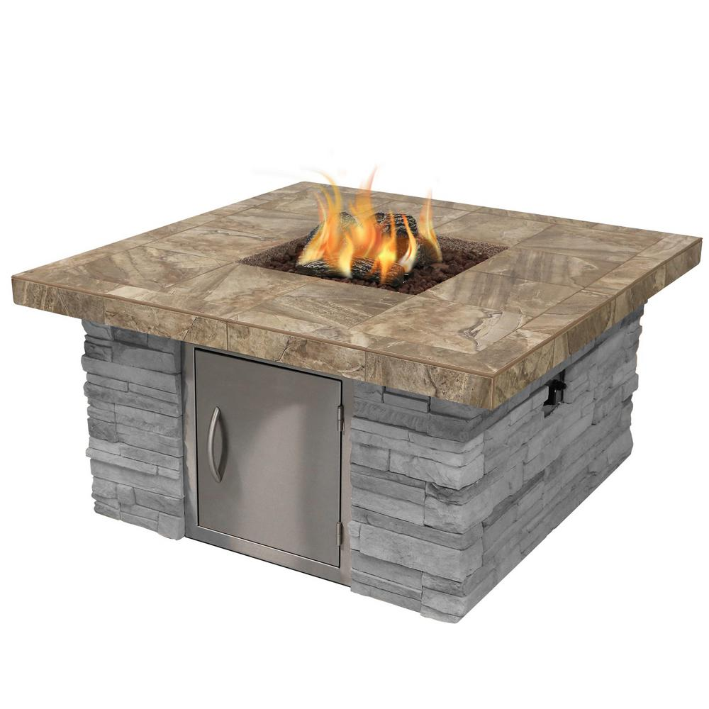 Cal Flame Cultured Stone Propane Gas Fire Pit in Gray with Log Set and Lava Rocks