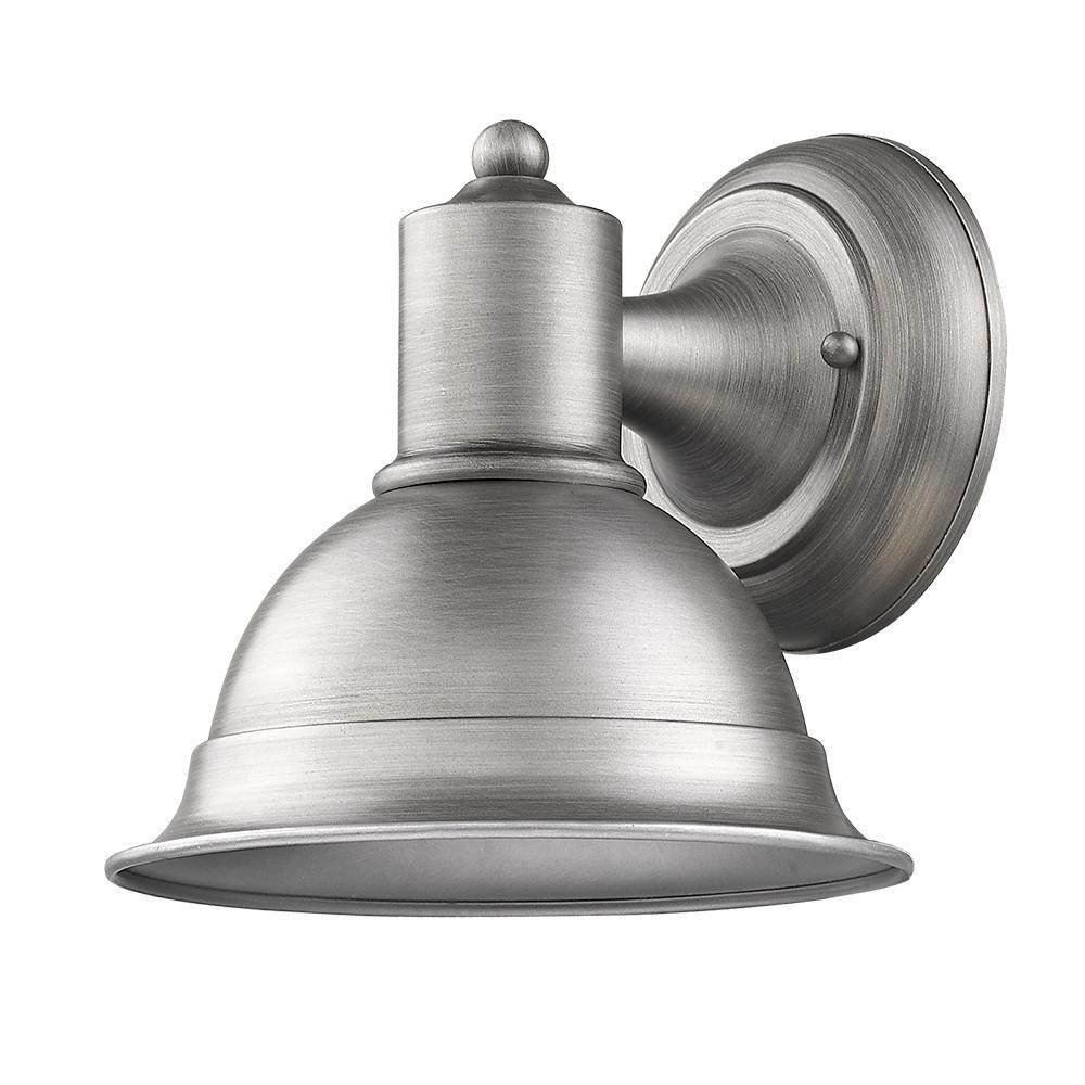 Colton 1-Light Matte Nickel Outdoor Wall Lantern Sconce