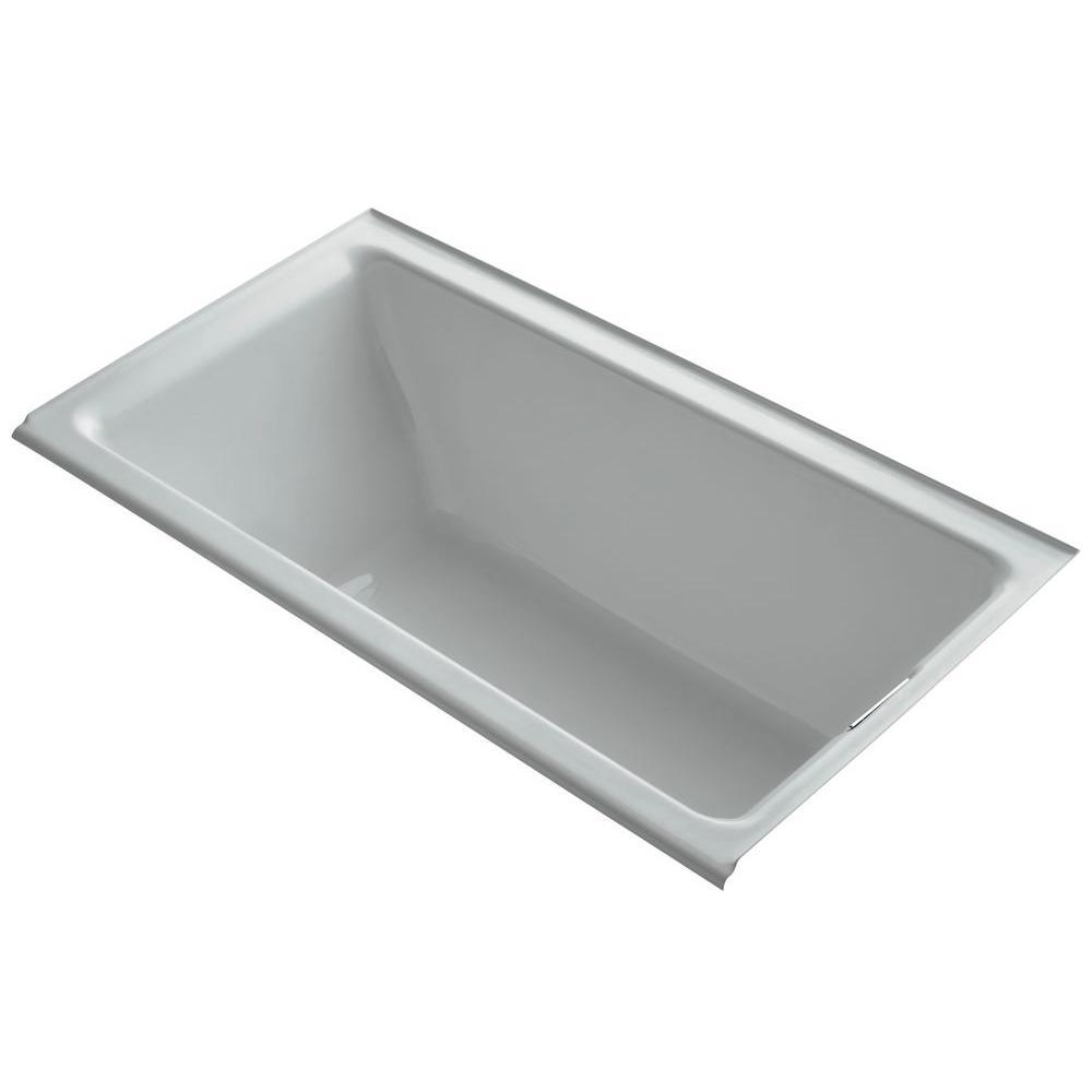 KOHLER Tea-for-Two 5.5 ft. Rectangular Drop-in Right Drain Soaking Bath Tub in Ice Grey