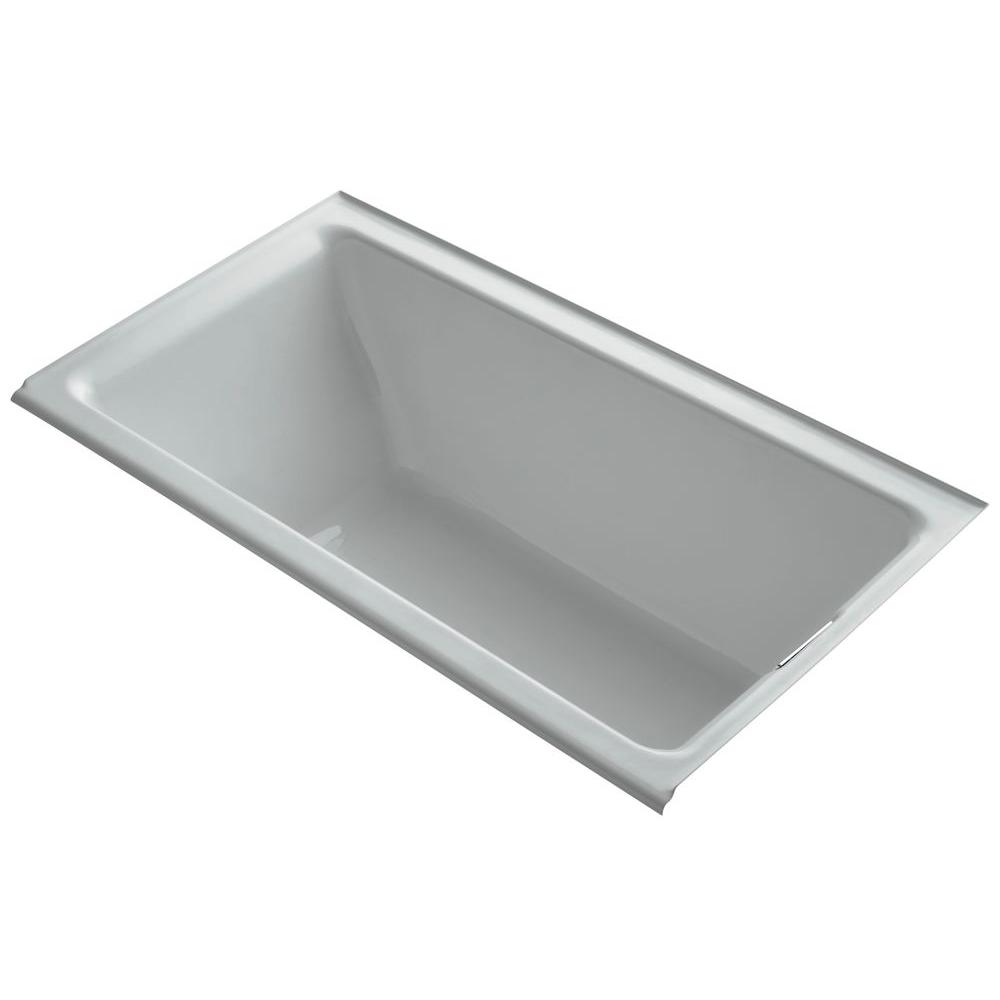 KOHLER Tea-for-Two 5.5 ft. Rectangular Drop-in Right Drain Soaking Bath Tub in Ice Grey