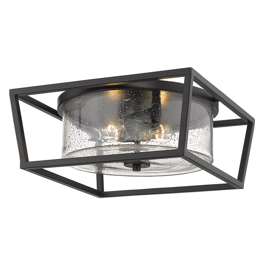 Golden Lighting Mercer 14 In Matte Black With Accents And Seeded Gl Flush Mount