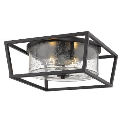 Mercer 14 in. Matte Black with Matte Black Accents and Seeded Glass Flush Mount