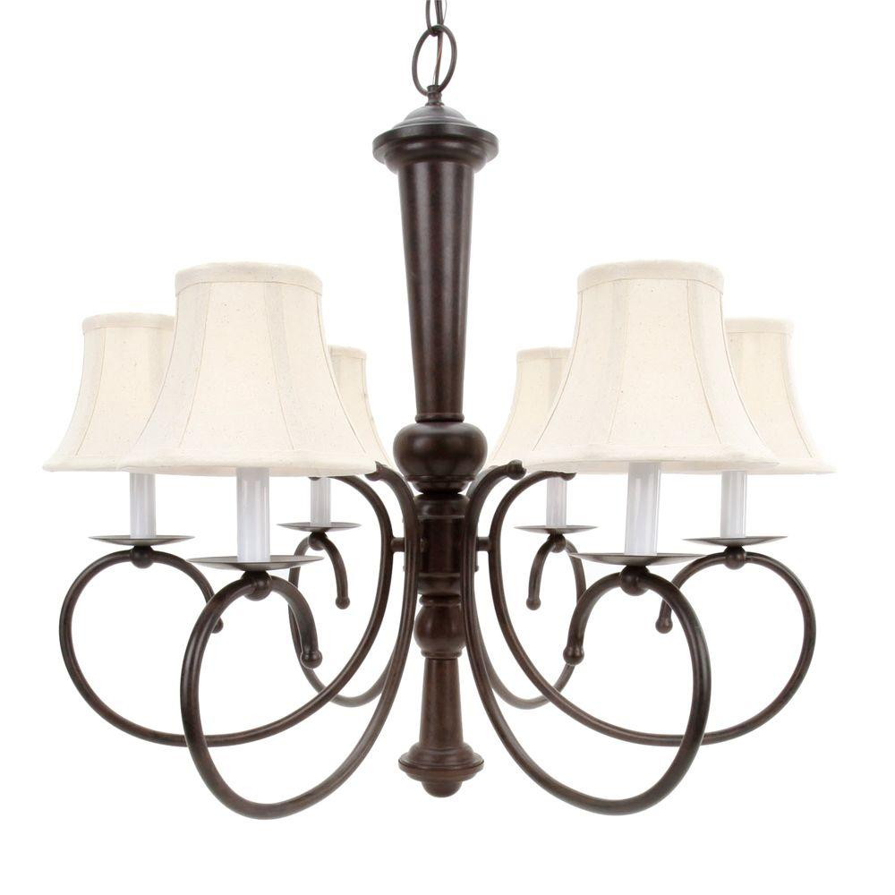 Home Depot Dining Room Chandeliers: Glomar 6-Light Old Bronze Chandelier With Natural Linen