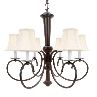6-Light Old Bronze Chandelier with Natural Linen Shades
