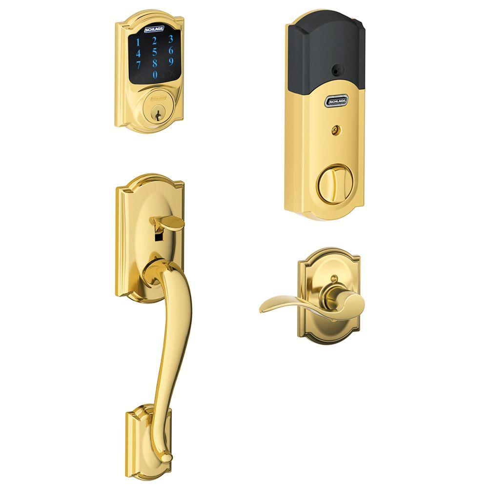 Schlage Camelot Bright Brass Connect Smart Door Lock with Alarm and Right Handed Accent Lever Handleset