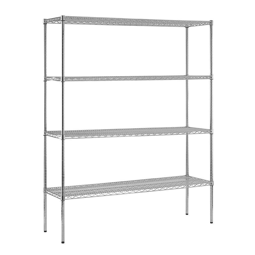86 in. H x 60 in. W x 36 in. D 4-Shelf Steel Shelving Unit in Chrome