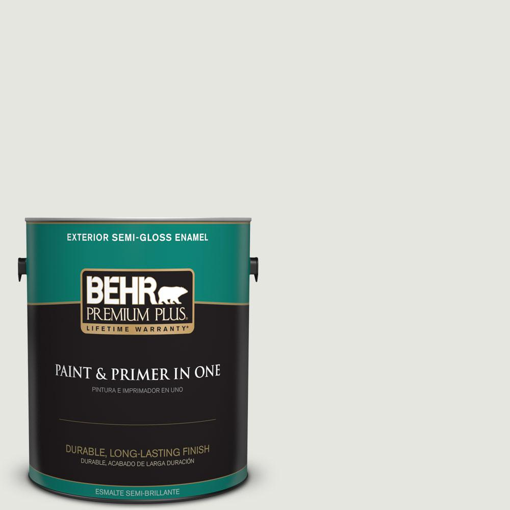 BEHR Premium Plus 1-gal. #BXC-89 Maritime White Semi-Gloss Enamel Exterior Paint
