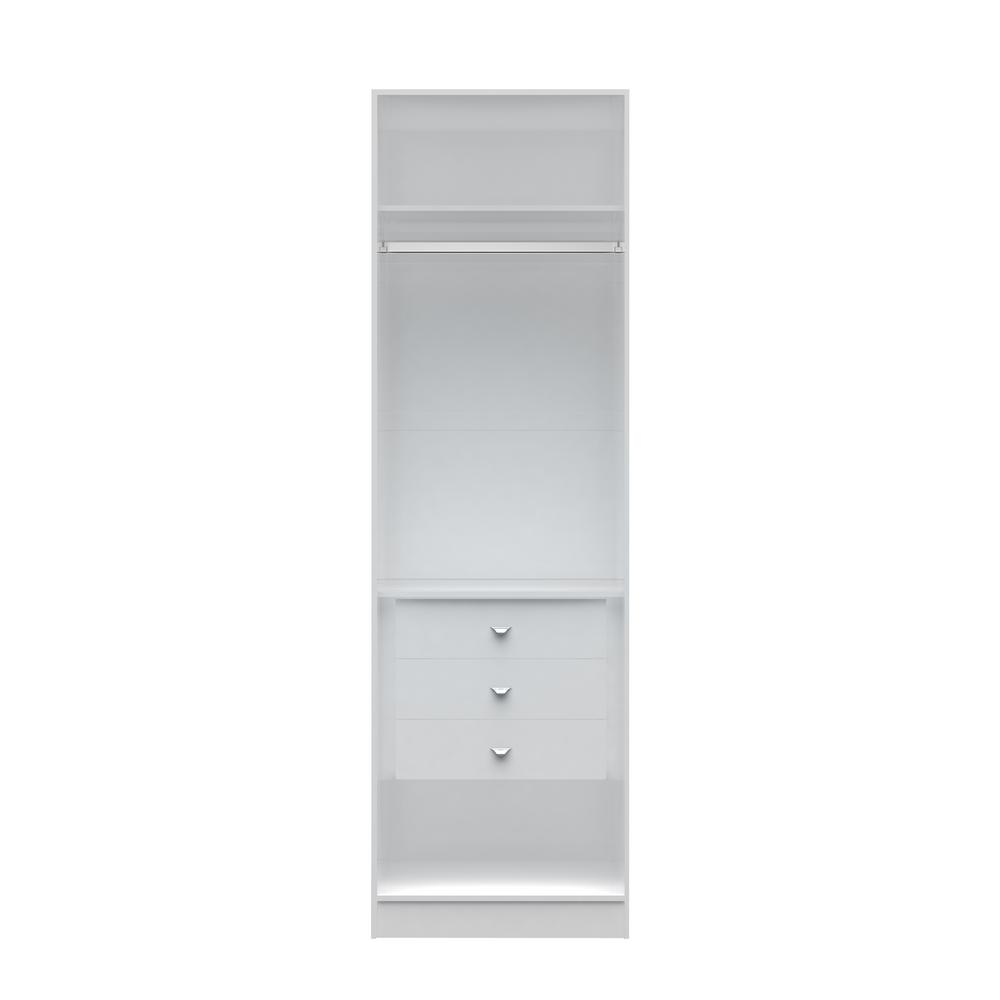 Manhattan Comfort Chelsea 1.0   27.55 In. W White Basic Wardrobe Closet  With 3 Drawers 116552   The Home Depot