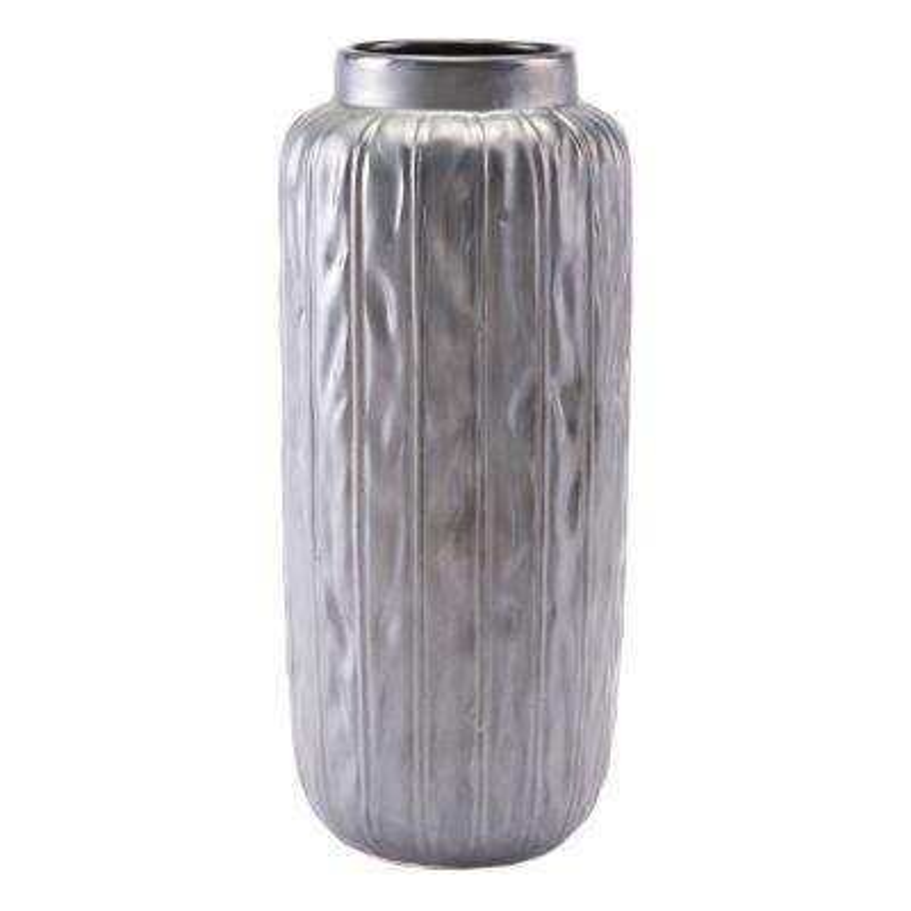 Metallic Gray Antique Large Decorative Vase