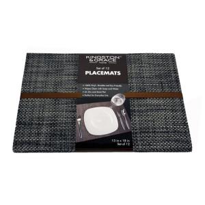 Kingston & Grace Kingston and Grace 13 inch x 18 inch Weave Placemat in Silver (Set of 12) by Kingston & Grace