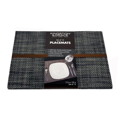 Kingston and Grace 13 in. x 18 in. Weave Placemat in Silver (Set of 12)