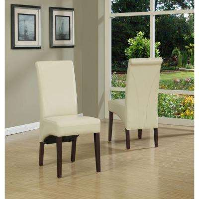Avalon Satin Cream Faux Leather Parsons Dining Chair (Set of 2)