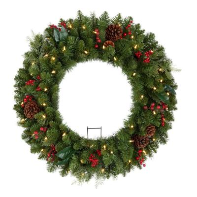 30 in. Winslow Fir Battery Operated Pre-lit Artificial Christmas Wreath with 175 Tips and 50 Warm White Lights