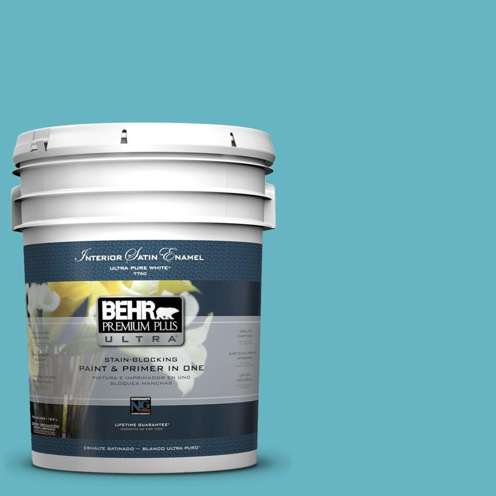 BEHR Premium Plus Ultra 5-gal. #520D-5 Tropical Tide Satin Enamel Interior Paint