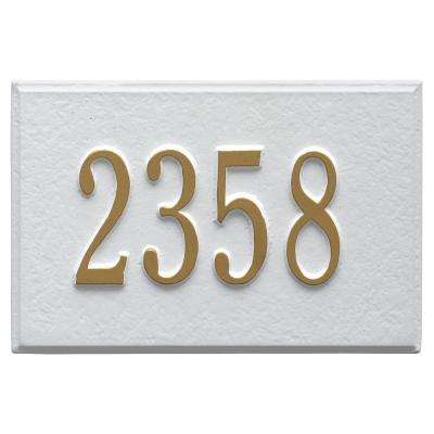Wall Mailbox Plaque in White/Gold