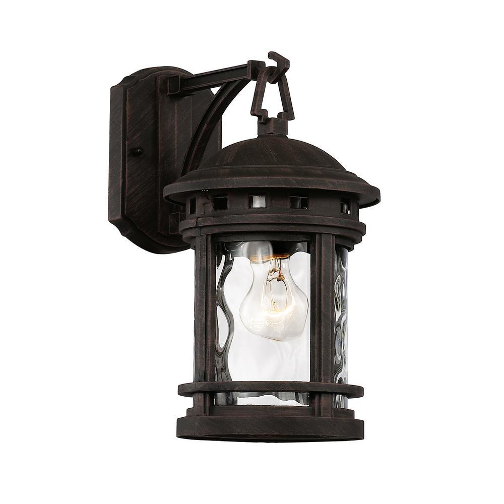 Boardwalk 1-Light Rust Outdoor Wall Mount Lantern