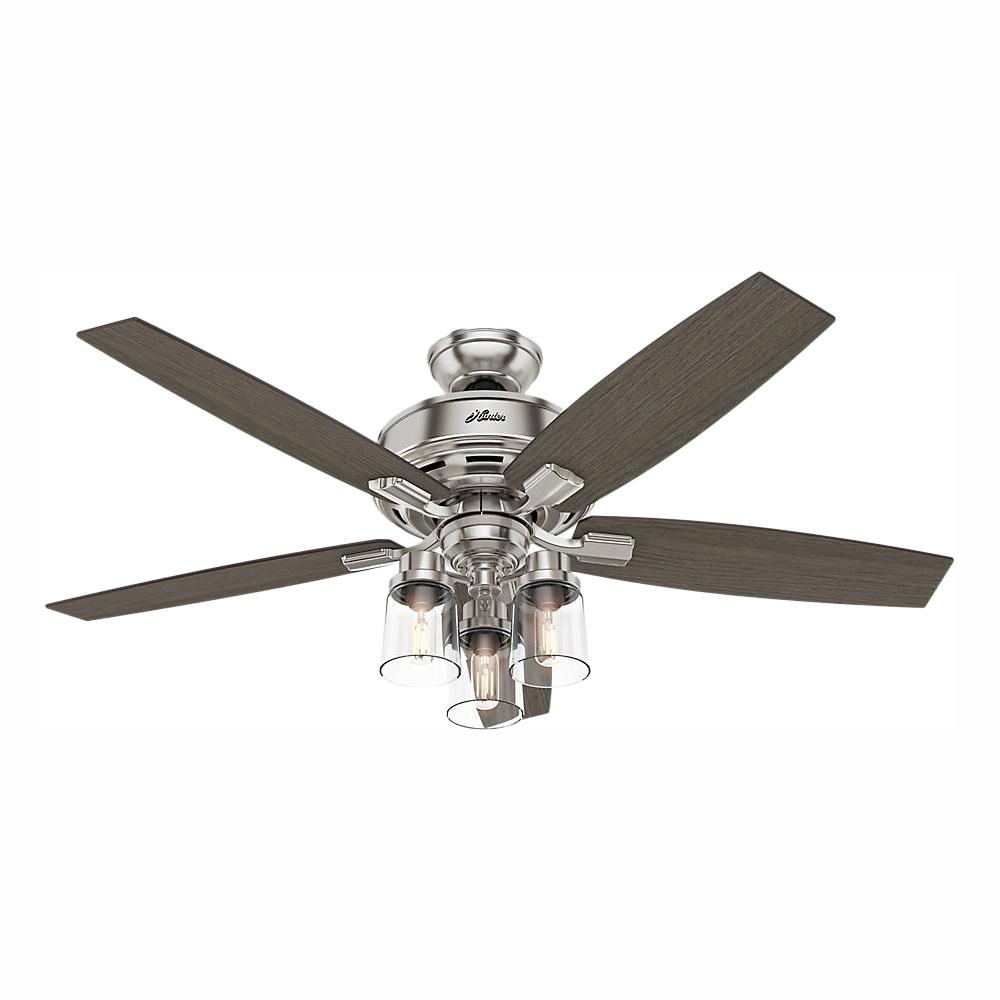 Hunter Bennett 52 in. LED Indoor Brushed Nickel Ceiling Fan with 3-Light Kit and Handheld Remote Control