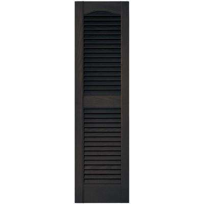 12 in. x 43 in. Louvered Vinyl Exterior Shutters Pair in #010 Musket Brown