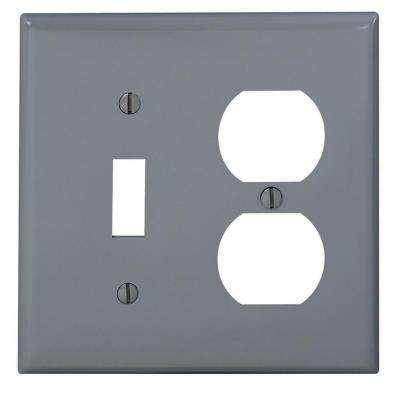 2-Gang Standard Size 1-Toggle 1-Single Receptacle Nylon Combination Wall Plate, Gray