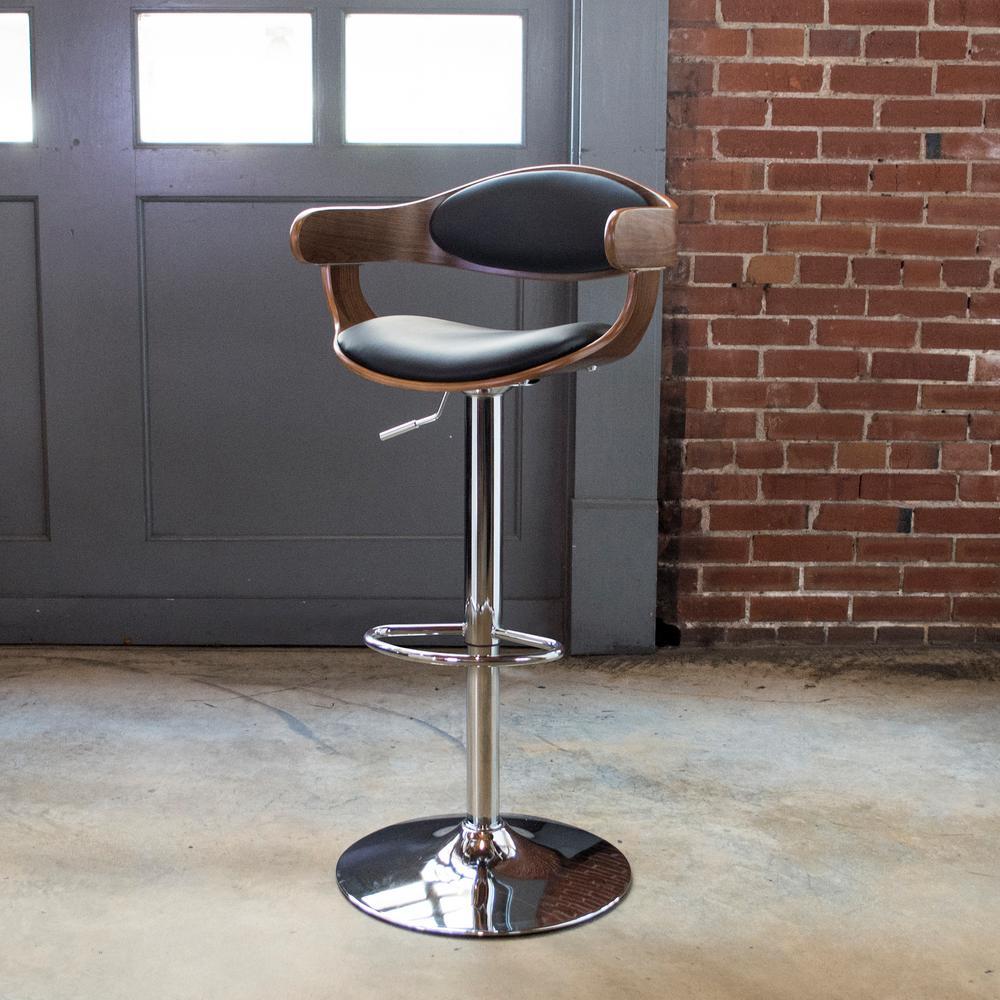Bent Wood Adjustable Height Raven Swivel Cushioned Bar Stool