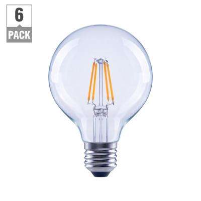 Ceiling fan rated led bulbs light bulbs the home depot 60 watt equivalent g25 globe clear glass filament dimmable led light bulb soft white aloadofball Image collections