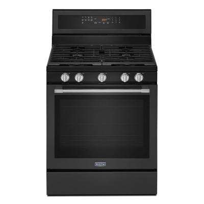 5.8 cu. ft. Gas Range with Self-Cleaning True Convection Oven and Power Preheat in Cast Iron Black