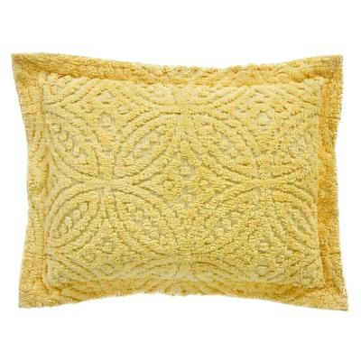 Double Wedding Ring Collection & Design Yellow Standard 100% Cotton Tufted Unique Luxurious Soft Plush Chenille Sham