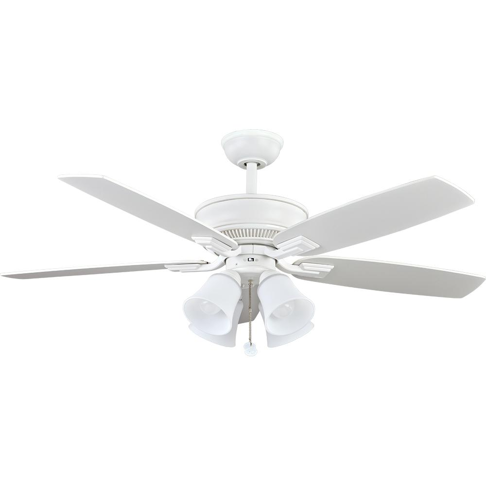 Hampton bay andross 48 in indoor white ceiling fan with light kit led indoor matte white ceiling fan with light aloadofball Images