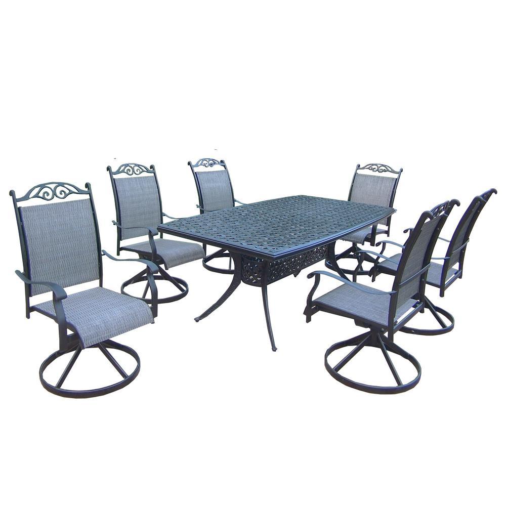 Cascade Black 7-Piece Aluminum Outdoor Dining Set