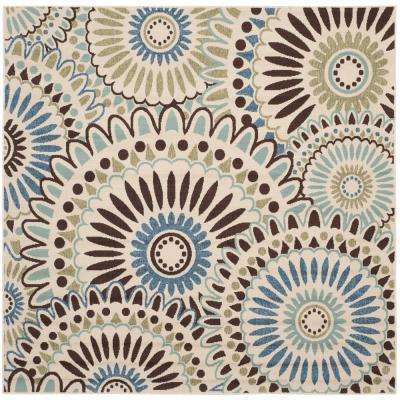 Veranda Cream/Blue 7 ft. x 7 ft. Indoor/Outdoor Square Area Rug