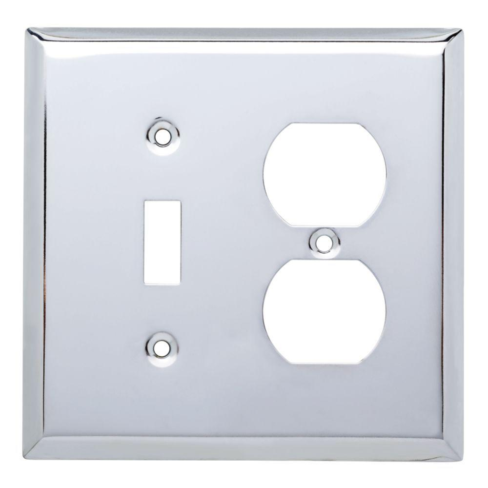 Stamped Square Decorative Switch and Duplex Outlet Cover, Polished Chrome