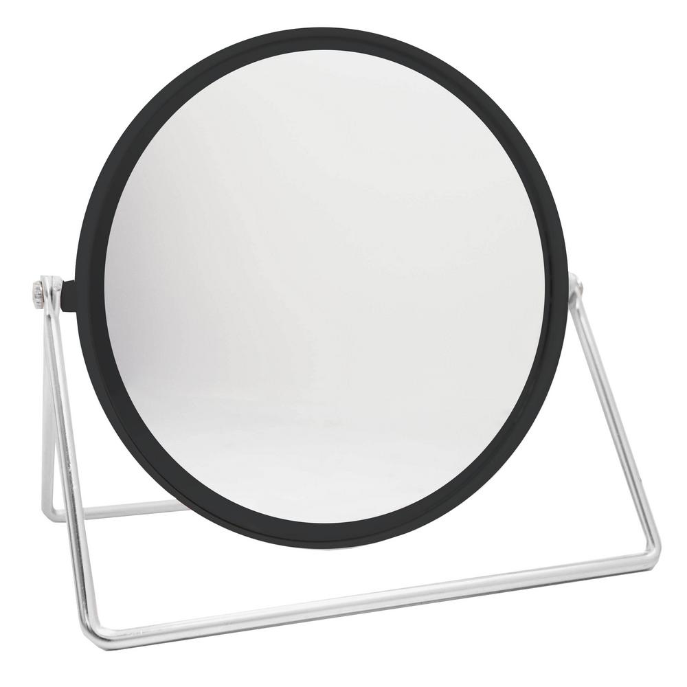 Home Basics 4.54 in. x 6.63 in. Cosmetic Mirror with Sleek Stand in Black