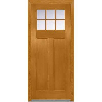 36 in. x 80 in. Shaker Right-Hand Inswing 6-Lite Clear Low-E 2-Panel Stained Fiberglass Fir Prehung Front Door