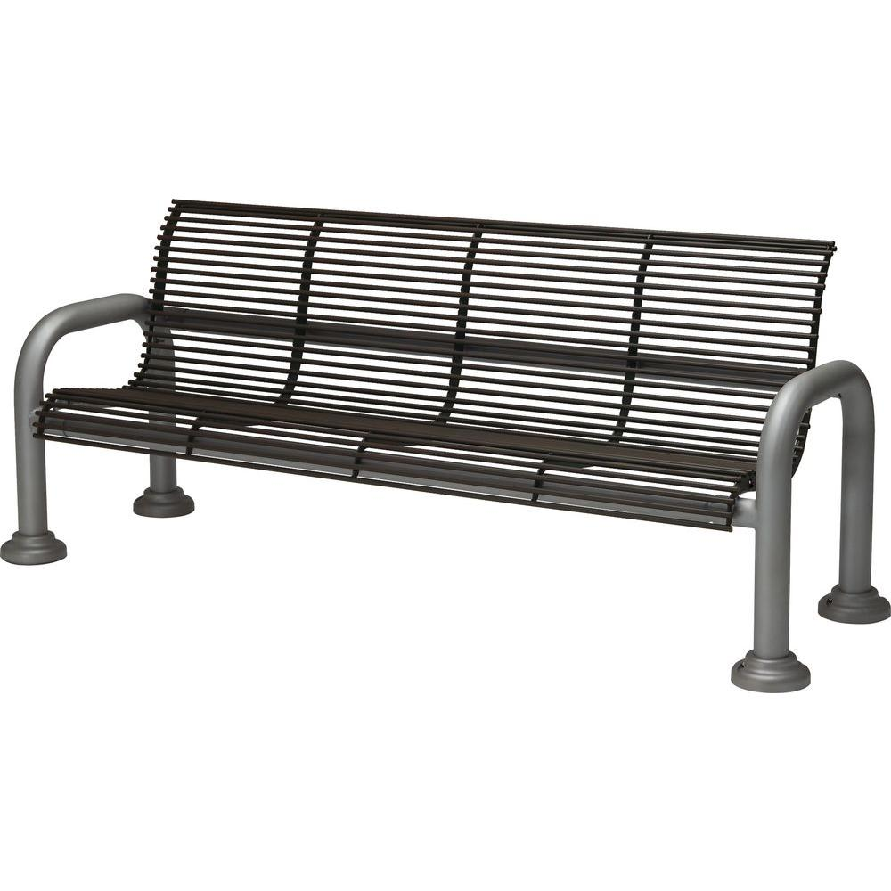 Tradewinds Harbor 6 ft. Contract Bench with Back in Textured Bronze