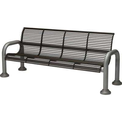 Harbor 6 ft. Contract Bench with Back in Textured Bronze