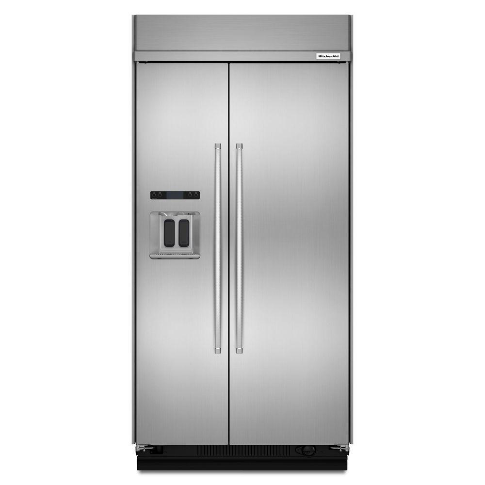 48 in. W 29.5 cu. ft. Built-In Side by Side Refrigerator in Stainless Steel