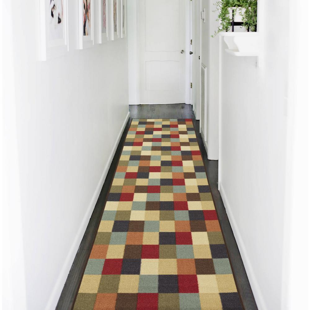 Ottomanson Ottohome Collection Contemporary Checkered Design Multicolor 3 ft. X 10 ft. Runner Rug