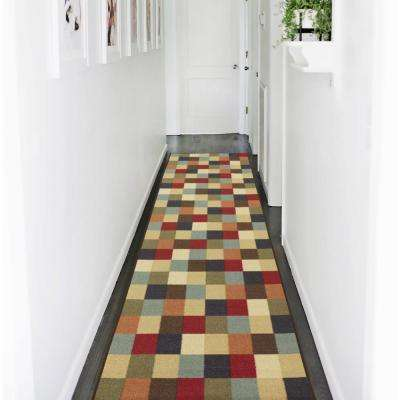 Ottohome Collection Contemporary Checkered Design Multicolor 3 ft. X 10 ft. Runner Rug