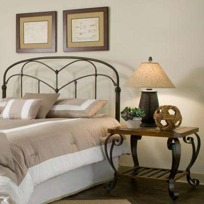 Pomona Queen-Size Headboard with Arched Metal Grill and Detailed Posts in Hazelnut