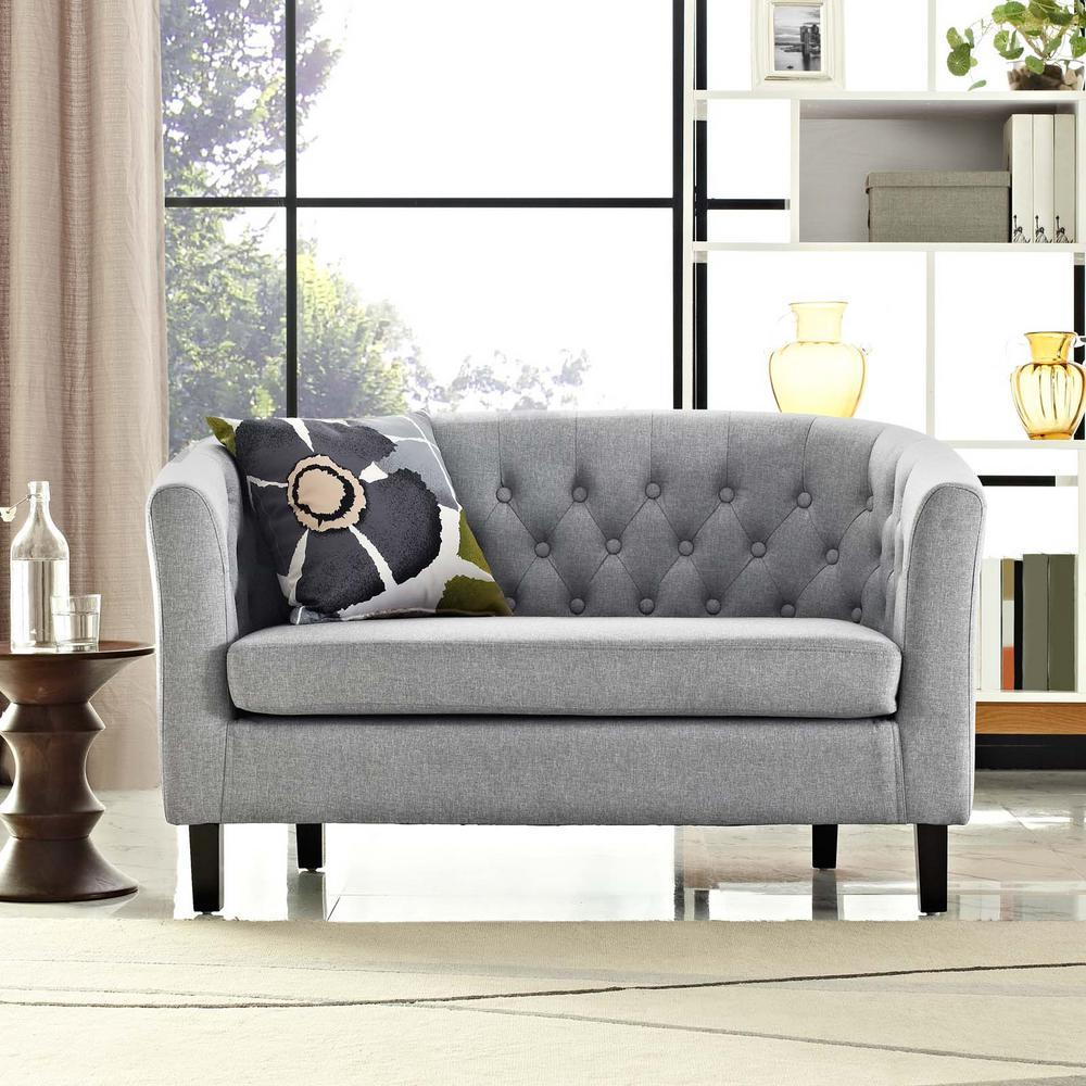 Prospect Light Gray Upholstered Fabric Loveseat