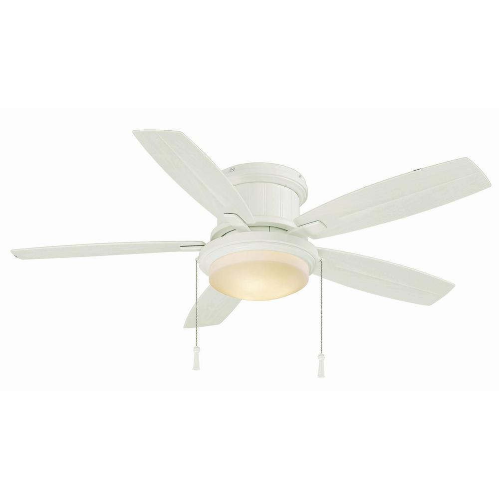 White Outdoor Ceiling Fan With Light: Hampton Bay Roanoke 48 In. LED Indoor/Outdoor Matte White