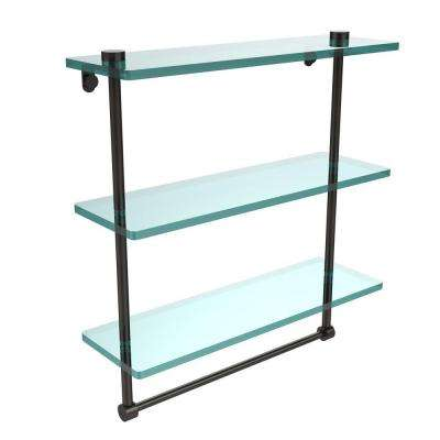 16 in. L  x 18 in. H  x 5 in. W 3-Tier Clear Glass Bathroom Shelf with Towel Bar in Oil Rubbed Bronze
