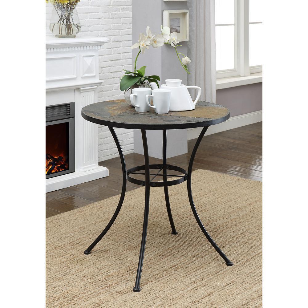 Slate Dining Room Table: 4D Concepts Black Metal Slate Top Dining Table-601611