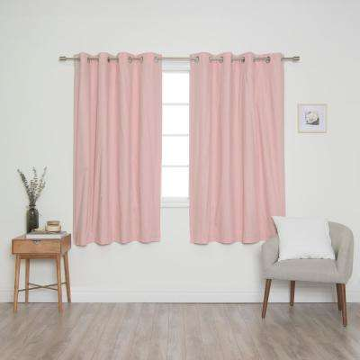 Pink Solid Cotton Blackout Thermal Grommet Curtain Panel Set - 52 in. x 63 in. (2-Panel)