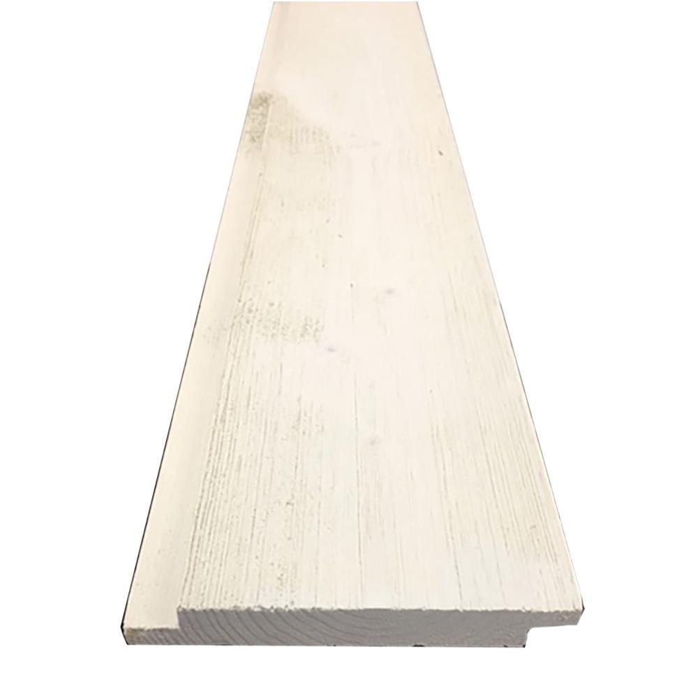 1 in. x 6 in. x 8 ft. Barn Wood Pre-Finished White Shiplap (6 ...