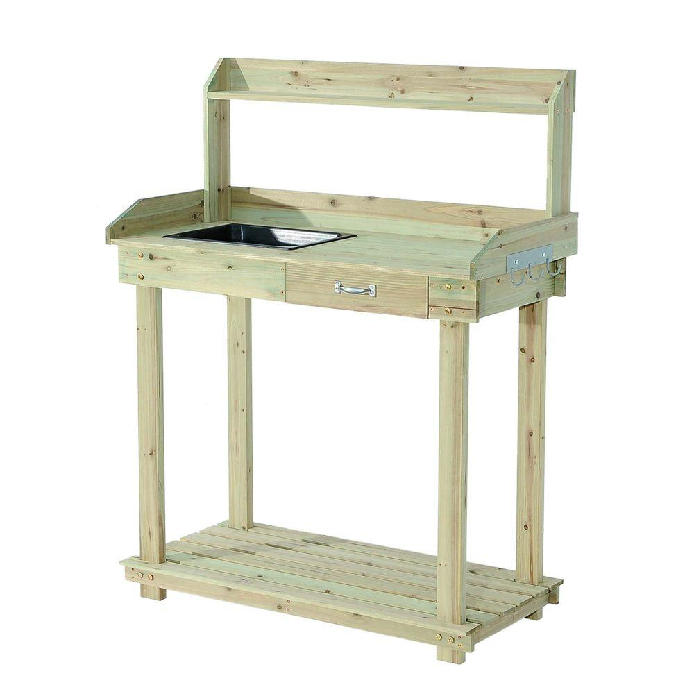Sunjoy Church Wood 36 In. X 49 In. Natural Brown Wood Potting Bench